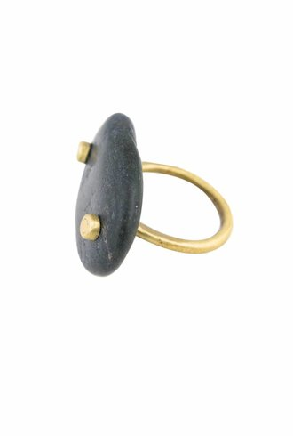 Renee Garvey Beach Stone Nail Head Ring Brass