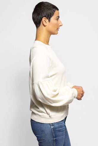 The Great The Bishop Sleeve Sweatshirt Washed White