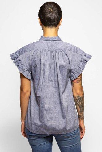 Trovata Marianne Ruffle Sleeve Shirt Chambray