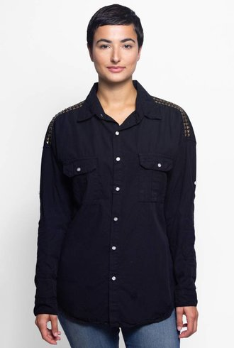 NSF Johnna Destroyed Studded Shirt Black