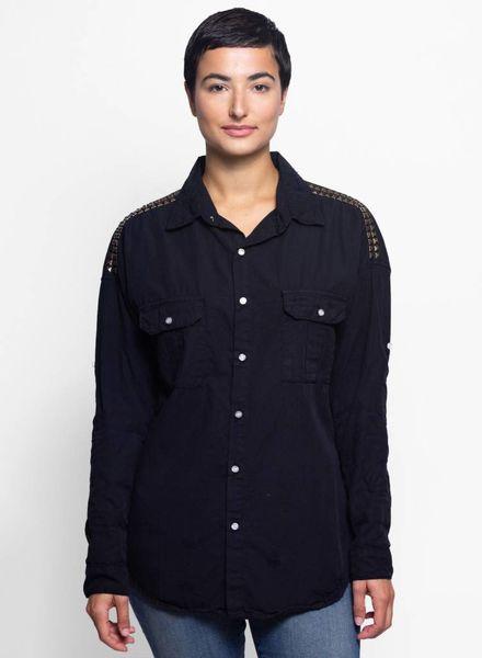 NSF Johnna Destroyed Studded Shirt Black