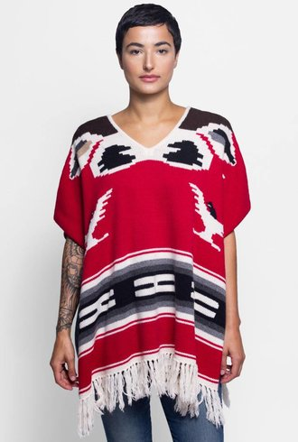 NSF Eagle Eye Knit Poncho Red Bird