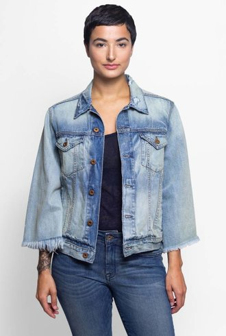 NSF Cliq Cropped Denim Jacket