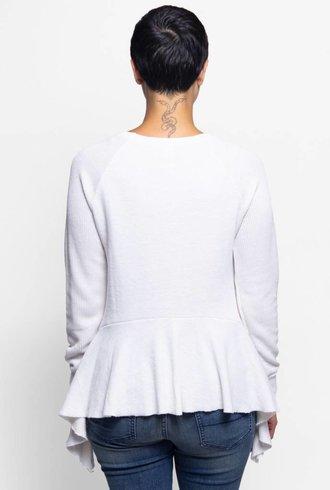 NSF Gemma Pullover Sweatshirt Peplum Bottom Soft White
