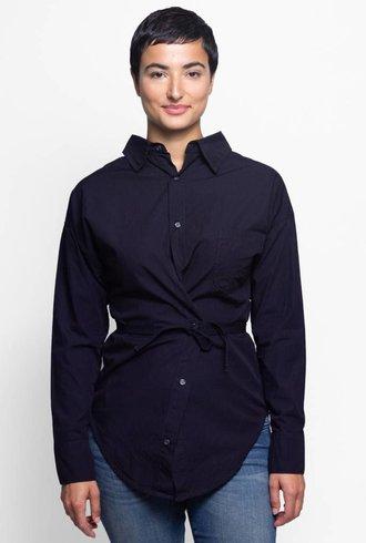 NSF Hester Belted Shirt Indigo Stripe