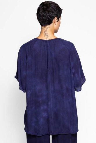 Raquel Allegra Reversible Flutter Sleeve Top Night Sky Tie Dye
