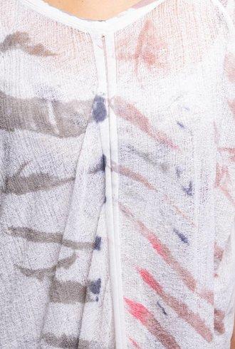 Raquel Allegra Butterfly Shred Dress White Mountain Tie Dye