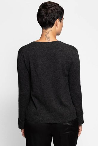 Inhabit Cuffed V-neck Charcoal