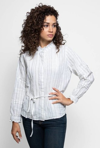 Trovata The Robin Ruffle Sleeve Blouse White Stripe