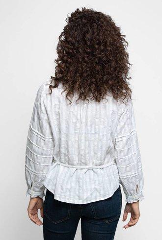 Trovata The Robin Ruffle Sleeve Blouse White Stripe