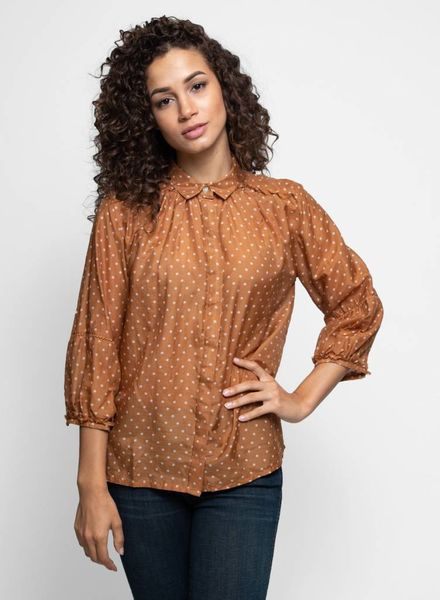 Trovata The Nadia Blouse Tobacco Dot