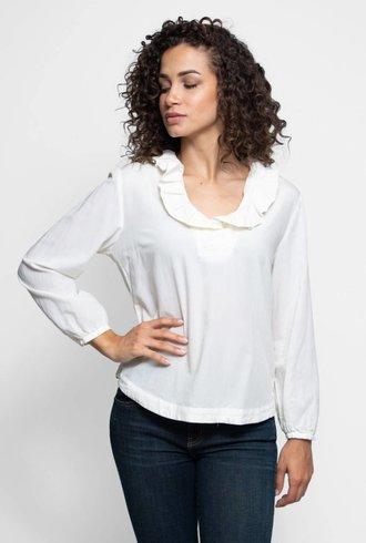 Trovata The Erica Pleated Collar Blouse Antique White