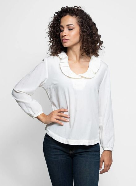 Trovata The Erica Pleated Collar Blouse Antique White