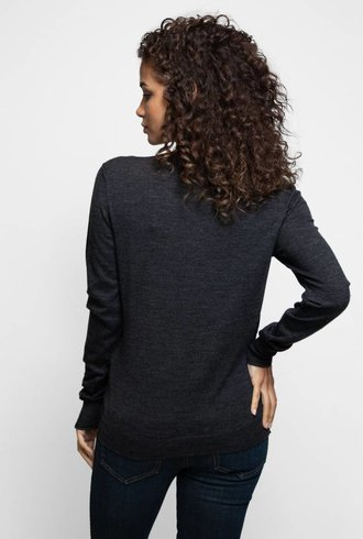 Inhabit Merino V-Neck Charcoal