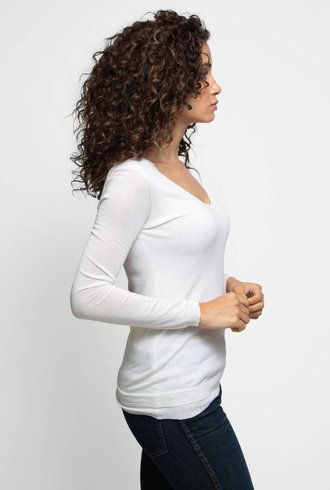 Inhabit Cotton Double V-Neck Ivory