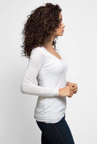 Inhabit Cotton Double V-Neck Ivory