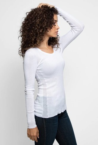 Inhabit Cotton Essential U-Neck White