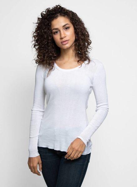 Inhabit Cotton Essential U-Neck White