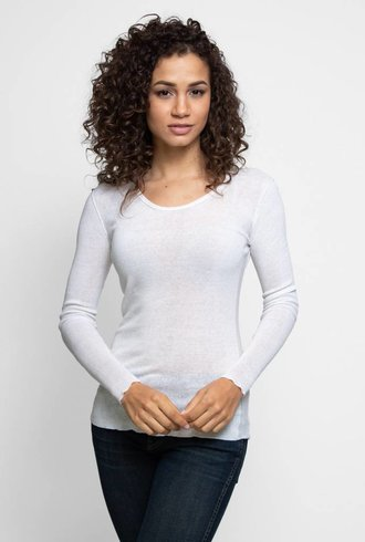 Inhabit Cotton Essential Scoopneck Blanc