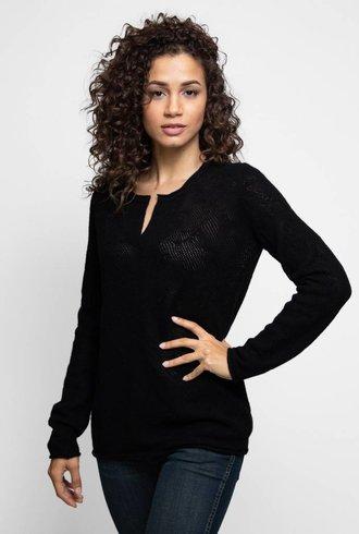 Inhabit Serafino Lace Pullover Black