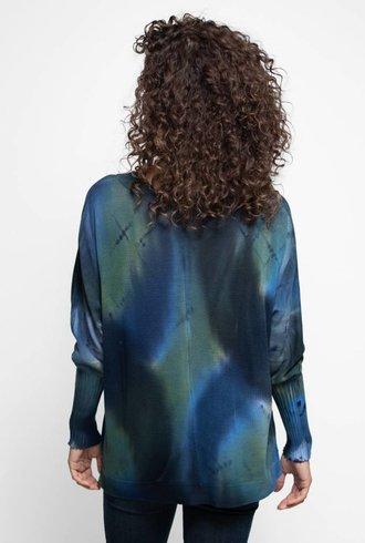 MA+CH Poncho Pullover Argyle Blue