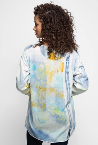 MA+CH Cotton Knit Hi-Low Pullover Turquoise Flora