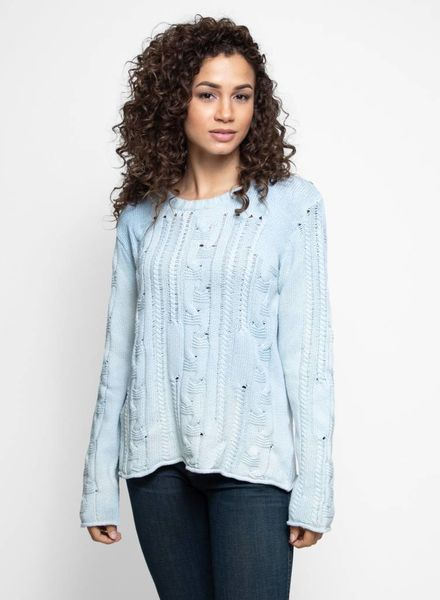 MA+CH Bulky Cotton Cable Lace Pullover Smoke Ombre
