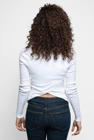 360 Sweater Marva Long Sleeve X-back Tee Bleachwhite