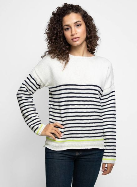 New Scotland Cotton Stripe Crew Navy/Ecru