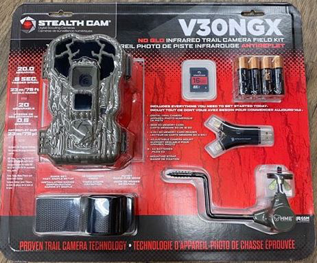 STEALTH CAM STEALTH CAM V30NGX TRAIL CAMERA FIELD KIT, 20MP, W/ BATTERIES, CARD, READER AND MOUNT