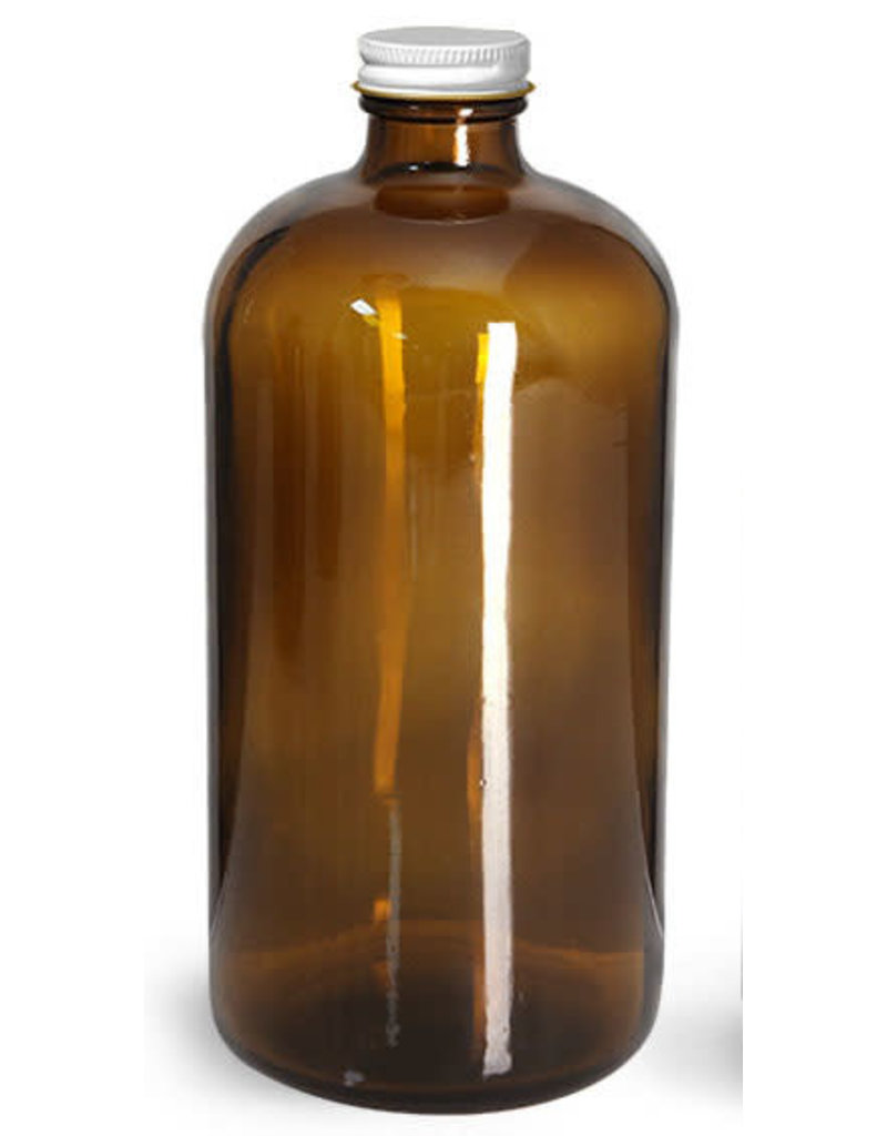 Garden City Essentials Boston Round Bottle + Lid - 16 oz (Amber)