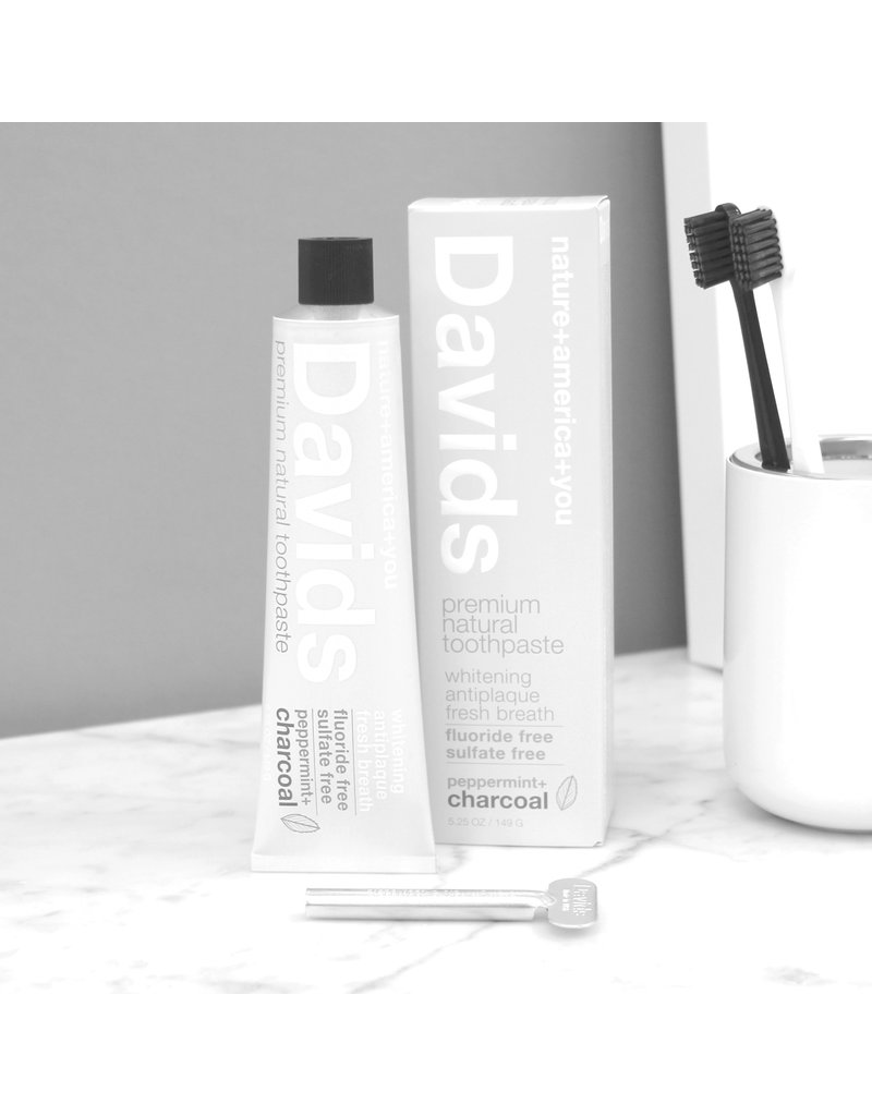 David's Davids Premium Natural Toothpaste - Peppermint + Charcoal