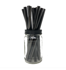 Mason Jar Lids Black Stainless Steele Straw
