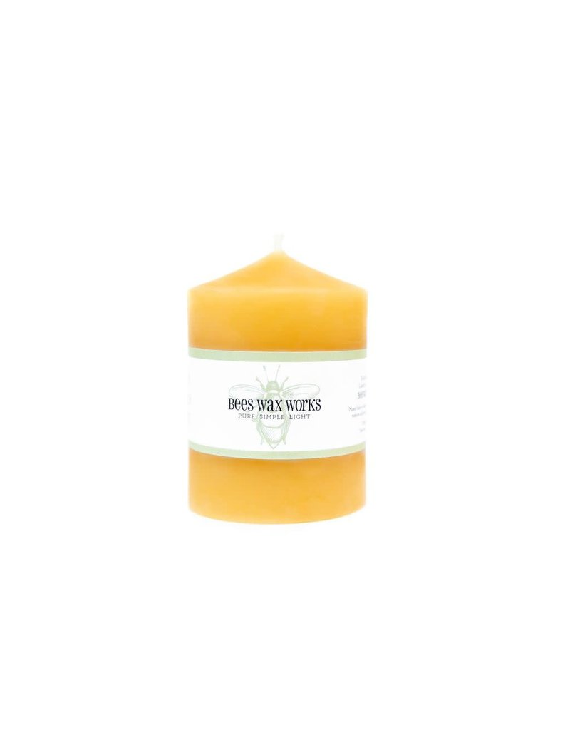 Bees Wax Works Wide Three Inch Pillar Candle