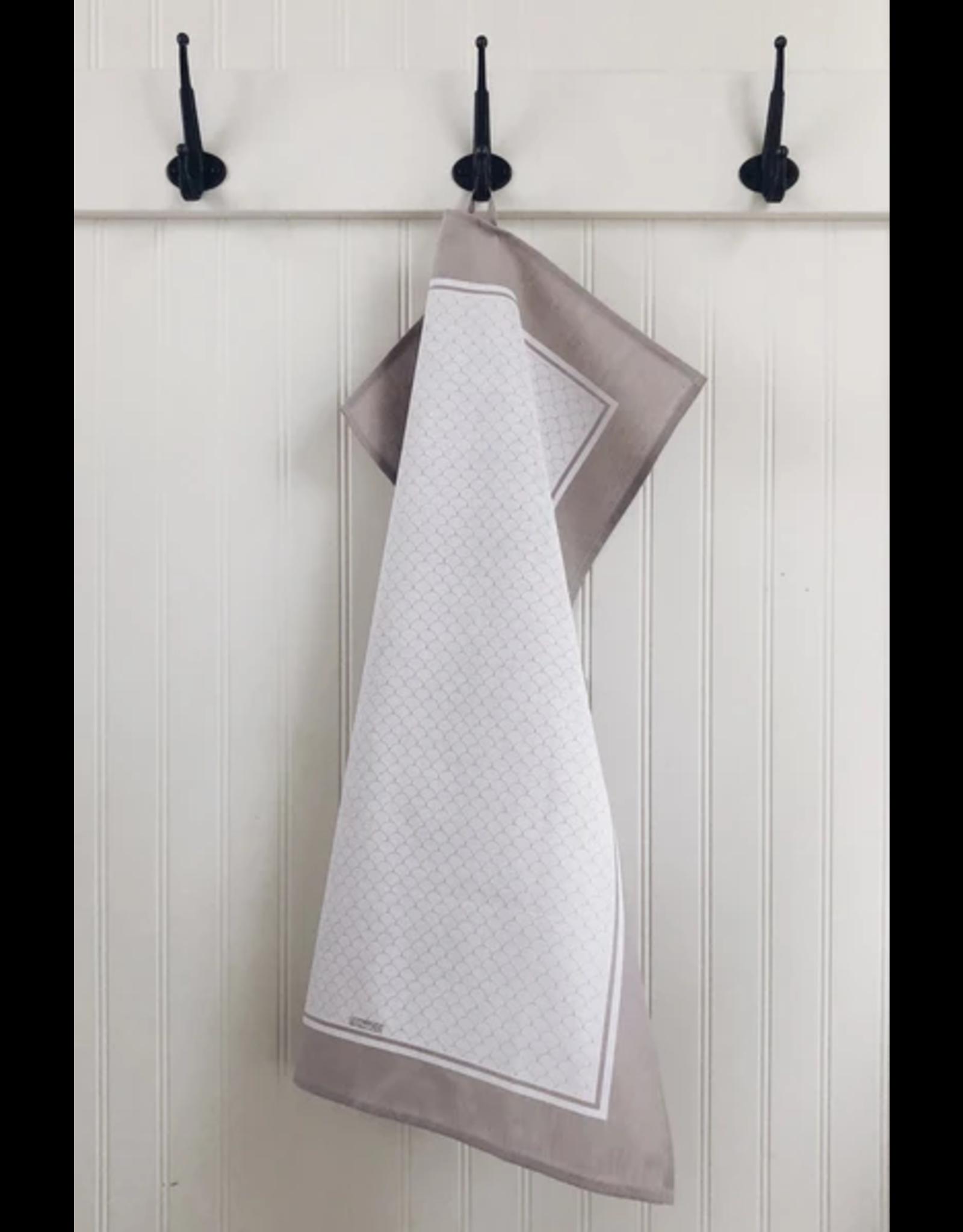 Ten & Co Tea Towel Scallop White on Warm Grey