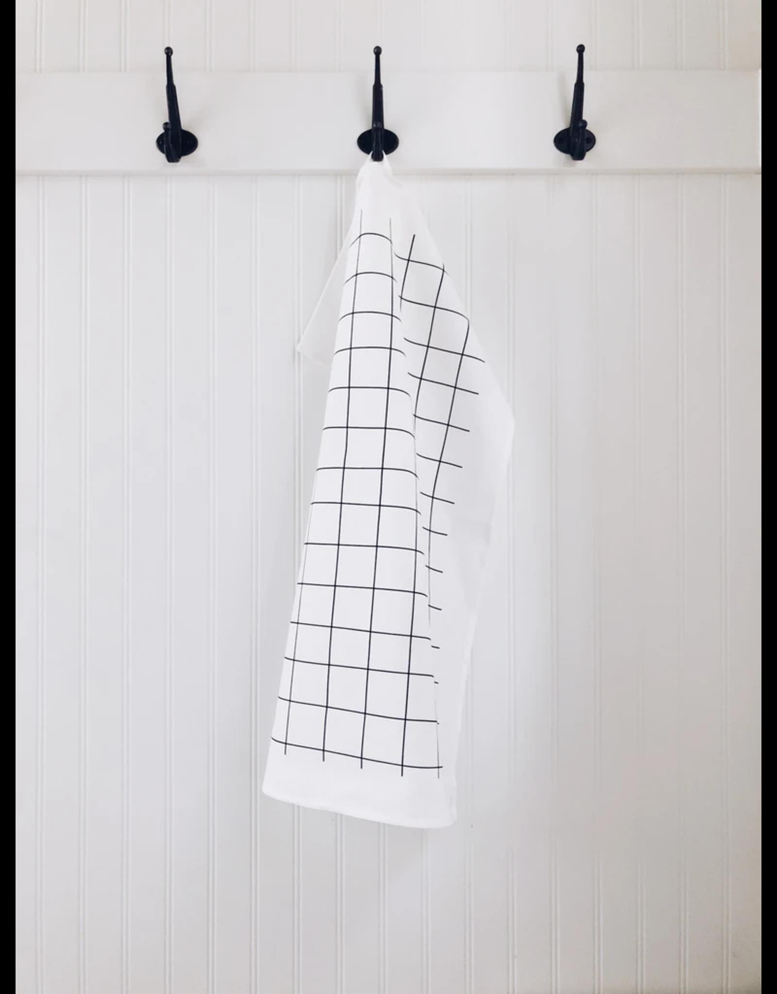 Ten & Co Tea Towel Grid Black on White