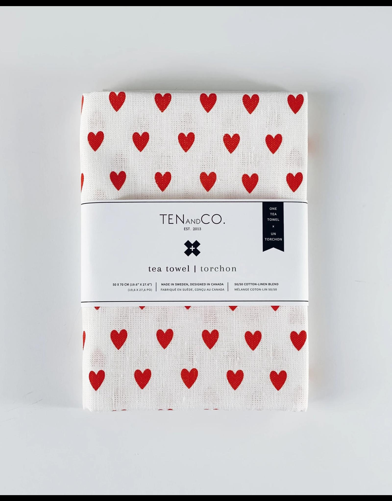 Ten & Co Tea Towel - Tiny Hearts