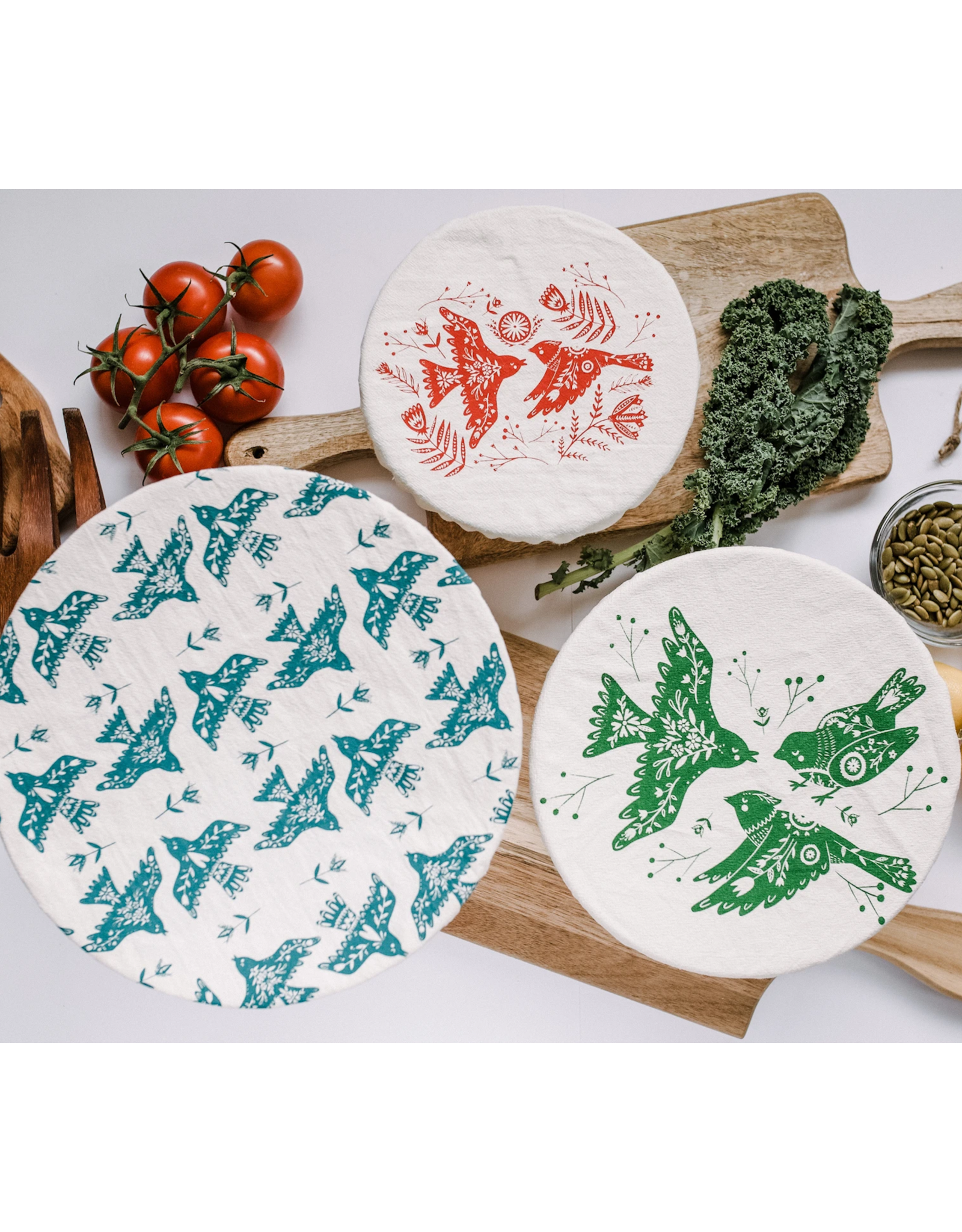Your Green Kitchen Folk Bird Bowl Cover Trio (XL, L, M)