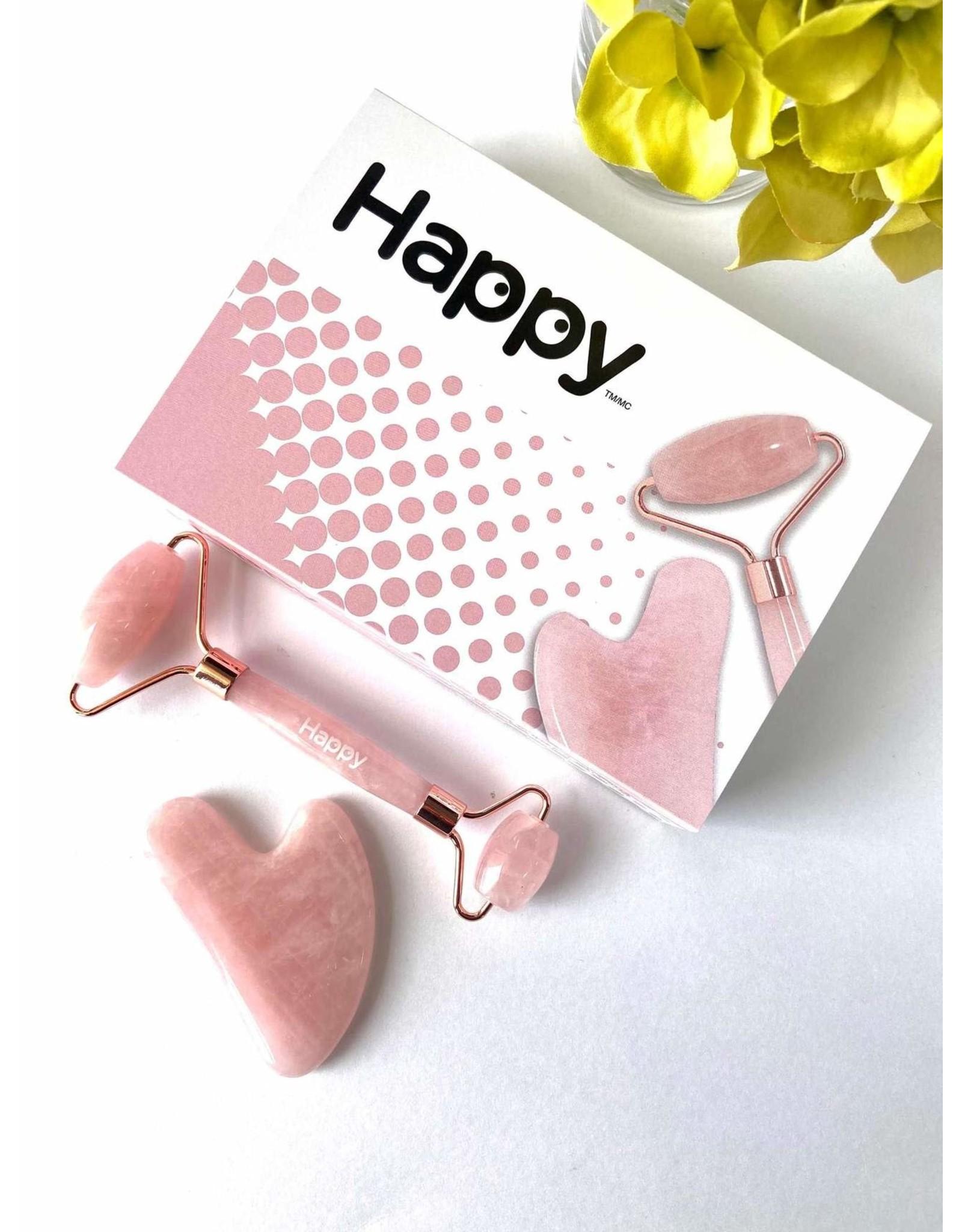 Happy Natural Products Rose Quartz Facial Roller & Gua Sha Set
