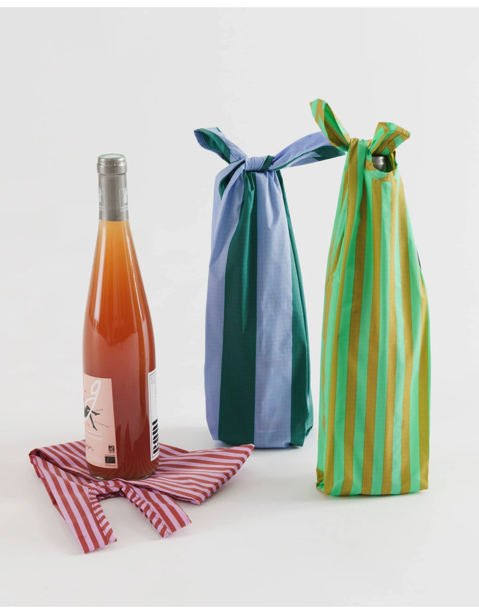 Baggu Baggu Reusable Wine Bags, Set of 3 - Afternoon Stripes