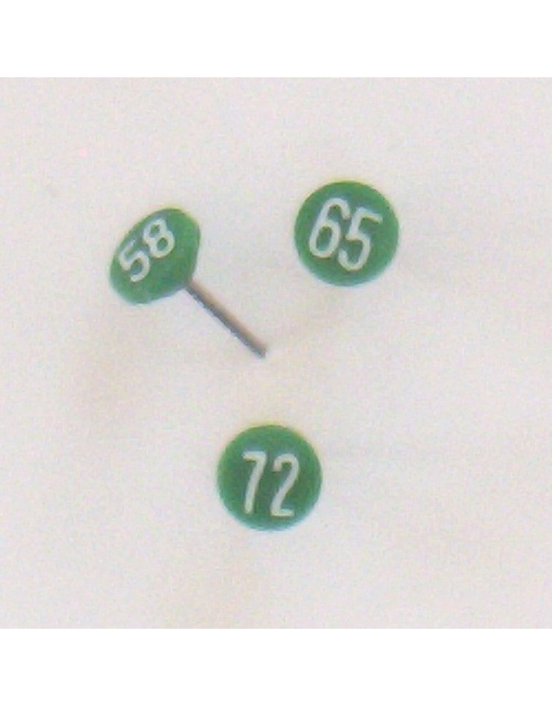 Moore Push Pin Small Numbered Maptacks, Dark Green with White Numerals