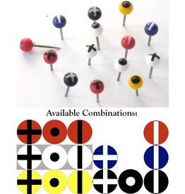 Moore Push Pin Ball Shaped Maptacks with Crosses, Dots and Stripes