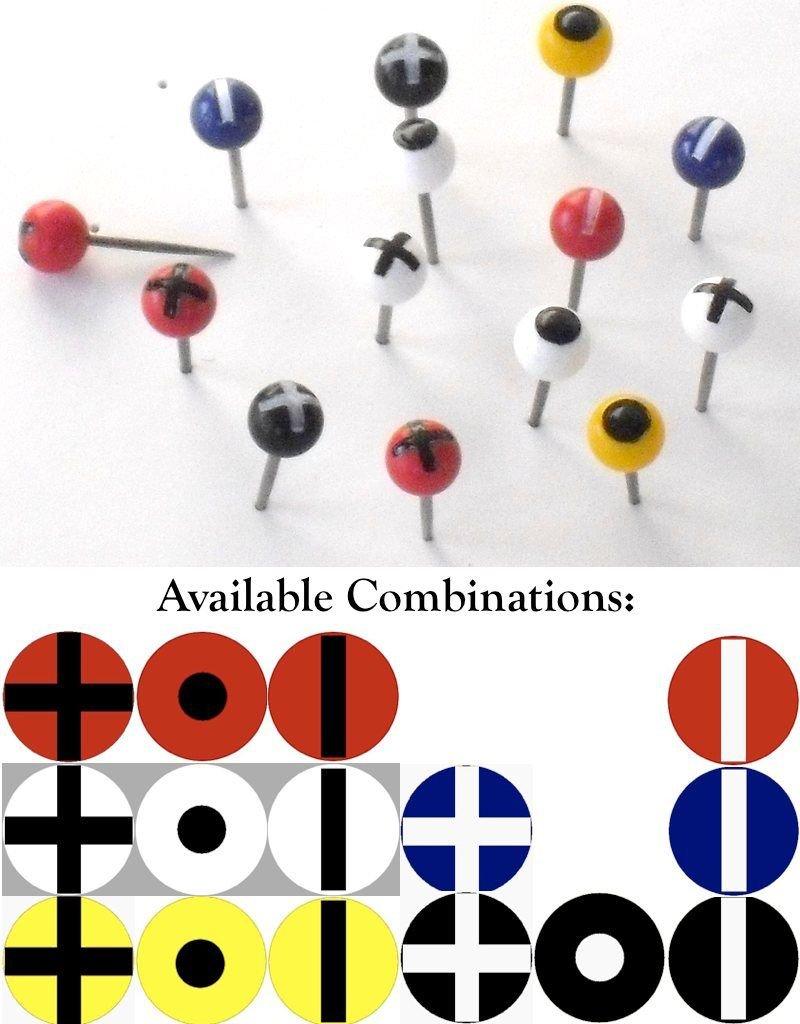 Moore Push Pin Ball Shaped Maptacks with Crosses, Dots and Stripes
