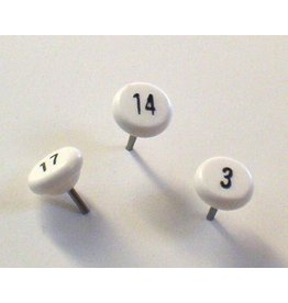 Moore Push Pin Large Numbered Maptacks, White with Black Numerals