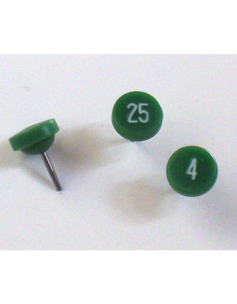 Moore Push Pin Large Numbered Maptacks, Green with White Numerals