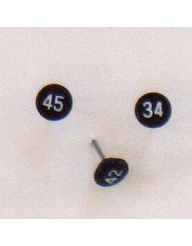 Moore Push Pin Small Numbered Maptacks, Black with White Numerals