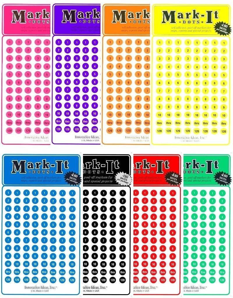 Mark it stickers numbered dot stickers 1 240 choose a color