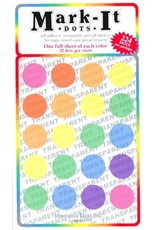 Mark-It Stickers Large Transparent Sticker Dots, Pack of 7 Colors #151