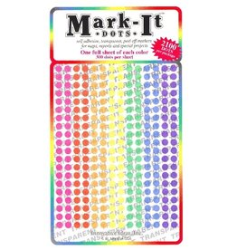 Mark-It Stickers 1/8 inch Transparent Dots, Pack of 7 Colors #108