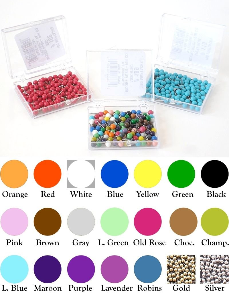 Moore Push Pin Medium Sized Ball Shaped Maptacks - 21 Colors Available -  Most Popular Size